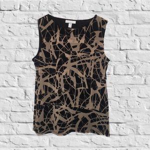 Dana Buchman Black/Tan sleeveless Top size Large